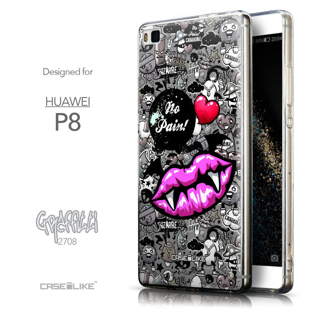Front & Side View - CASEiLIKE Huawei P8 back cover Graffiti 2708