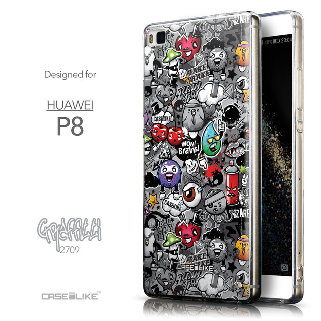 Front & Side View - CASEiLIKE Huawei P8 back cover Graffiti 2709