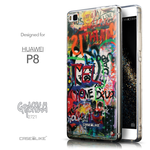 Front & Side View - CASEiLIKE Huawei P8 back cover Graffiti 2721