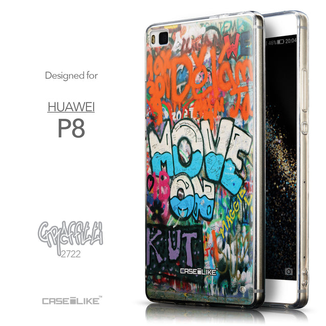 Front & Side View - CASEiLIKE Huawei P8 back cover Graffiti 2722
