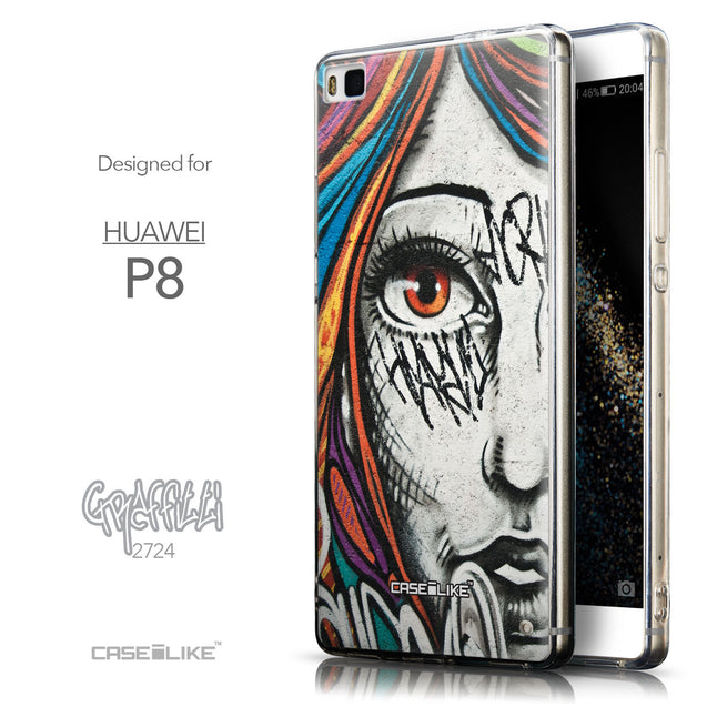 Front & Side View - CASEiLIKE Huawei P8 back cover Graffiti Girl 2724