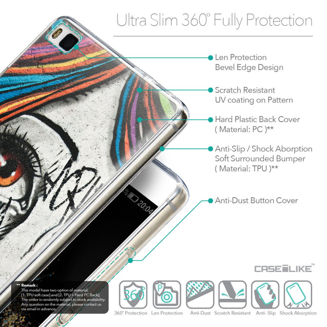 Details in English - CASEiLIKE Huawei P8 back cover Graffiti Girl 2724