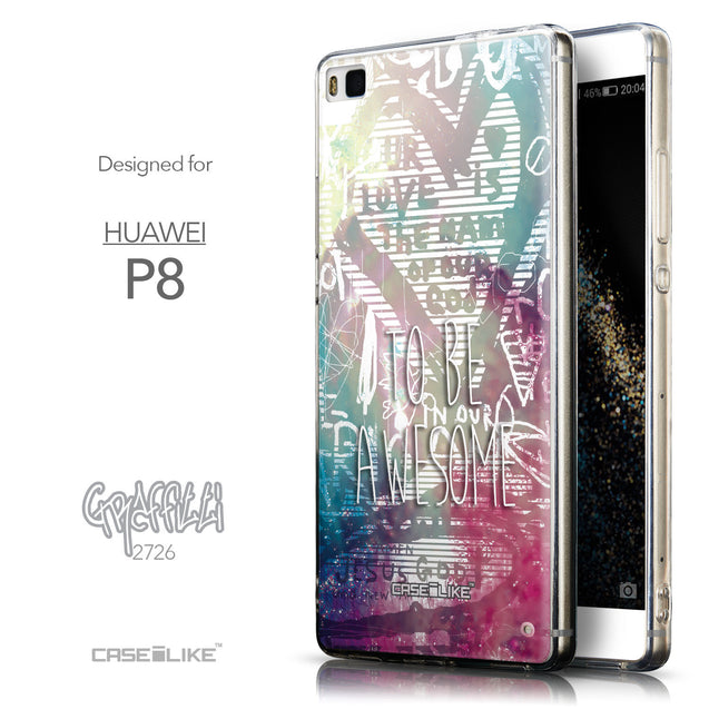 Front & Side View - CASEiLIKE Huawei P8 back cover Graffiti 2726
