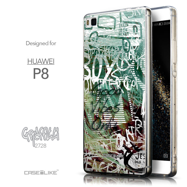 Front & Side View - CASEiLIKE Huawei P8 back cover Graffiti 2728