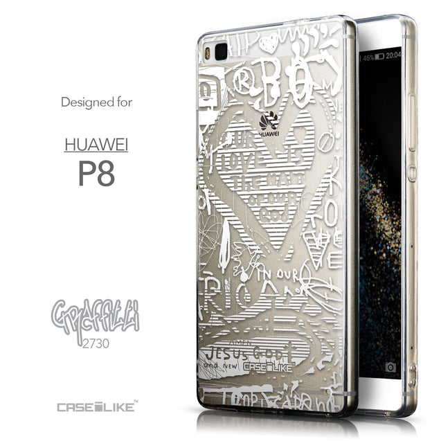 Front & Side View - CASEiLIKE Huawei P8 back cover Graffiti 2730