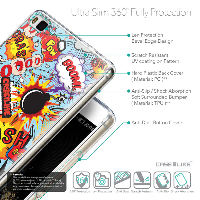 Details in English - CASEiLIKE Huawei P8 back cover Comic Captions Blue 2913