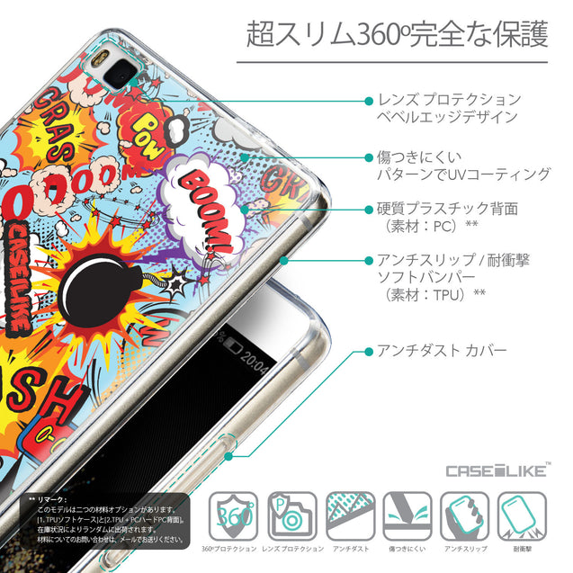 Details in Japanese - CASEiLIKE Huawei P8 back cover Comic Captions Blue 2913