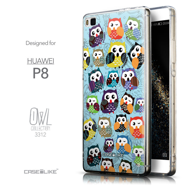Front & Side View - CASEiLIKE Huawei P8 back cover Owl Graphic Design 3312