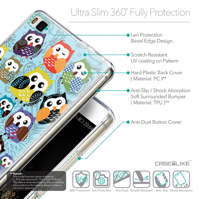 Details in English - CASEiLIKE Huawei P8 back cover Owl Graphic Design 3312