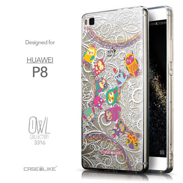 Front & Side View - CASEiLIKE Huawei P8 back cover Owl Graphic Design 3316