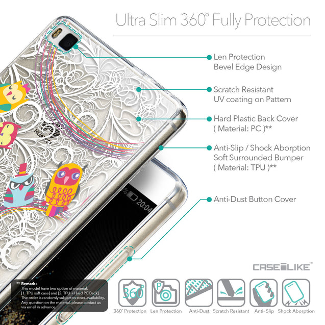 Details in English - CASEiLIKE Huawei P8 back cover Owl Graphic Design 3316