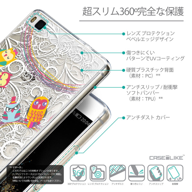 Details in Japanese - CASEiLIKE Huawei P8 back cover Owl Graphic Design 3316