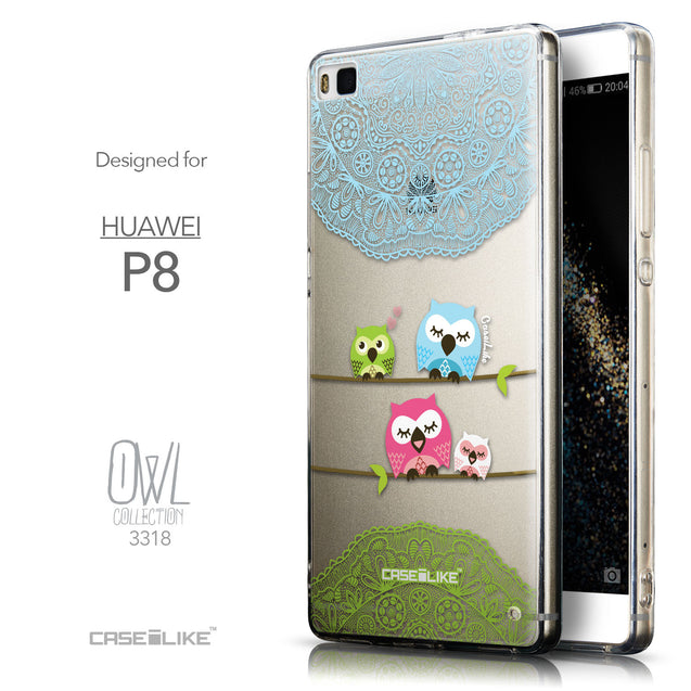 Front & Side View - CASEiLIKE Huawei P8 back cover Owl Graphic Design 3318