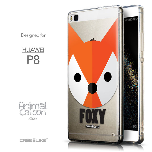 Front & Side View - CASEiLIKE Huawei P8 back cover Animal Cartoon 3637