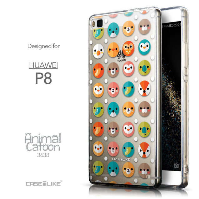 Front & Side View - CASEiLIKE Huawei P8 back cover Animal Cartoon 3638