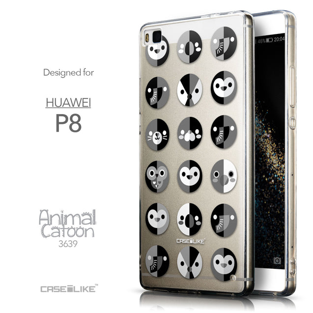 Front & Side View - CASEiLIKE Huawei P8 back cover Animal Cartoon 3639