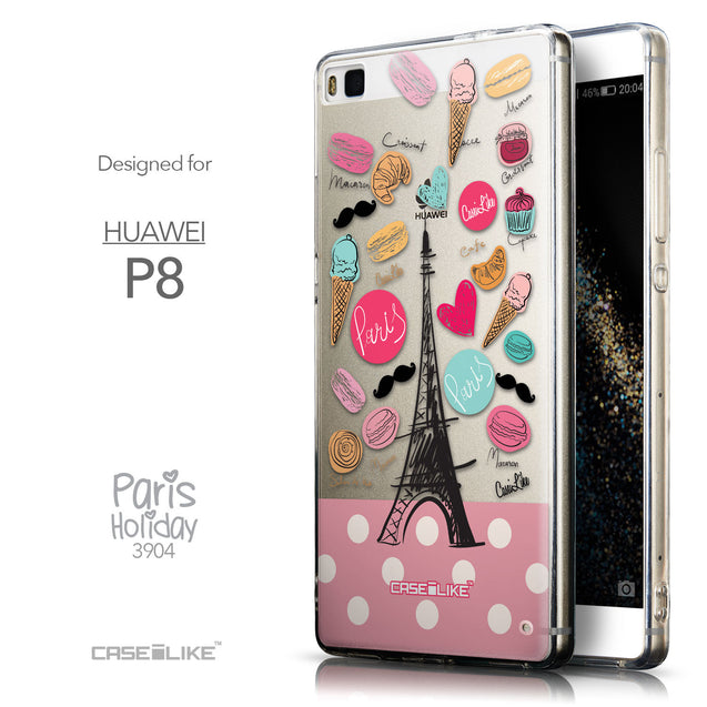 Front & Side View - CASEiLIKE Huawei P8 back cover Paris Holiday 3904