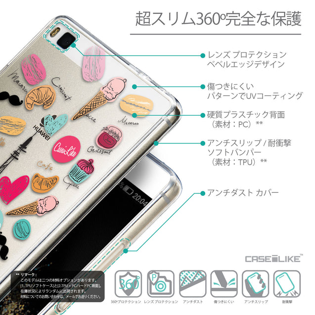 Details in Japanese - CASEiLIKE Huawei P8 back cover Paris Holiday 3904