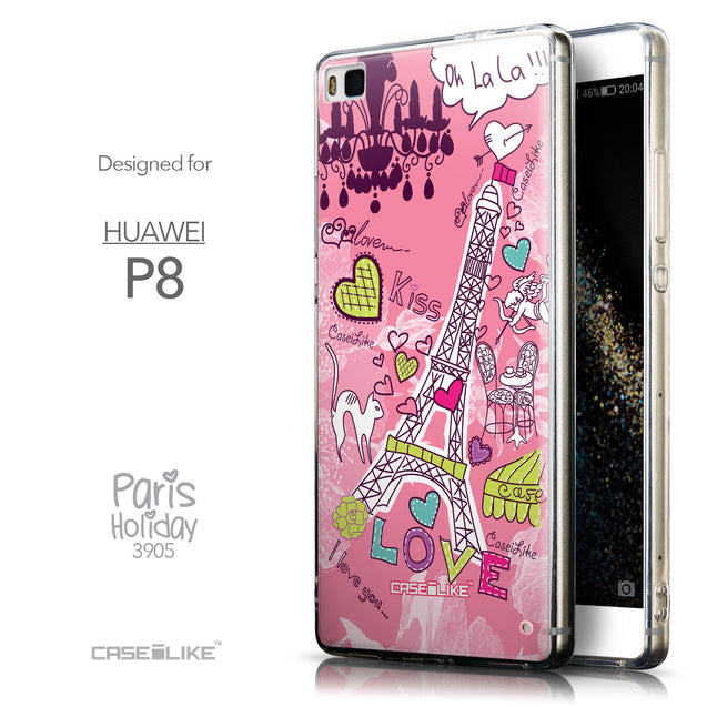 Front & Side View - CASEiLIKE Huawei P8 back cover Paris Holiday 3905
