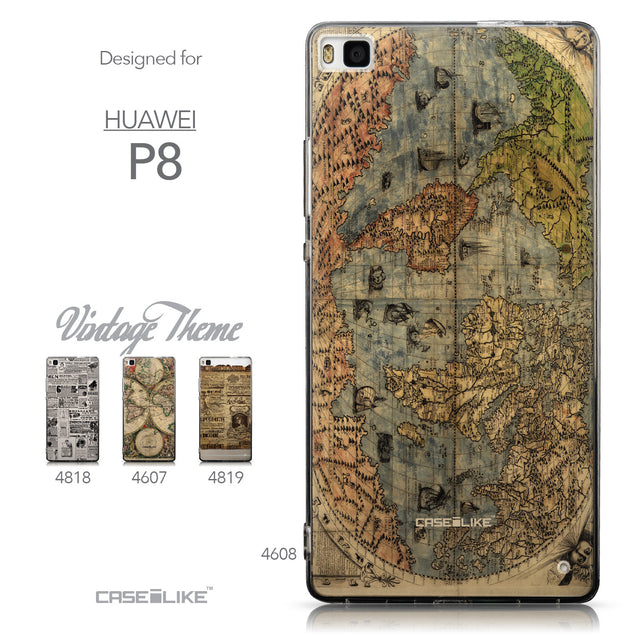 Collection - CASEiLIKE Huawei P8 back cover World Map Vintage 4608