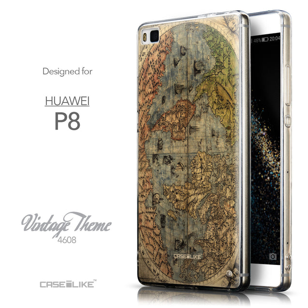 Front & Side View - CASEiLIKE Huawei P8 back cover World Map Vintage 4608