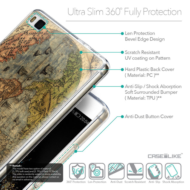 Details in English - CASEiLIKE Huawei P8 back cover World Map Vintage 4608