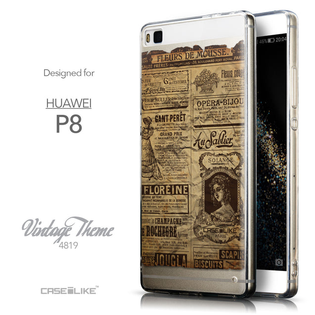 Front & Side View - CASEiLIKE Huawei P8 back cover Vintage Newspaper Advertising 4819