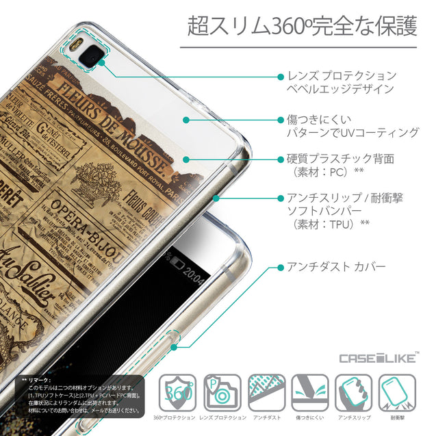 Details in Japanese - CASEiLIKE Huawei P8 back cover Vintage Newspaper Advertising 4819