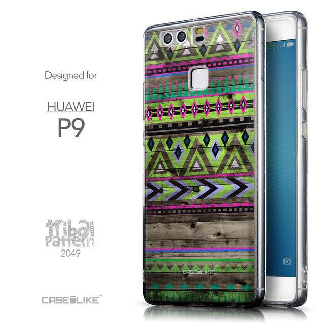 Front & Side View - CASEiLIKE Huawei P9 back cover Indian Tribal Theme Pattern 2049