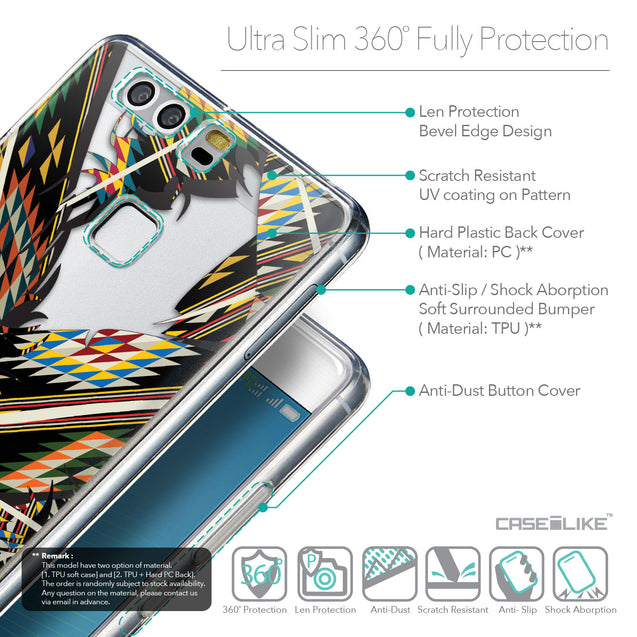 Details in English - CASEiLIKE Huawei P9 back cover Indian Tribal Theme Pattern 2053
