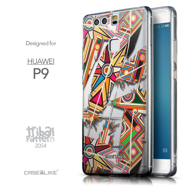 Front & Side View - CASEiLIKE Huawei P9 back cover Indian Tribal Theme Pattern 2054