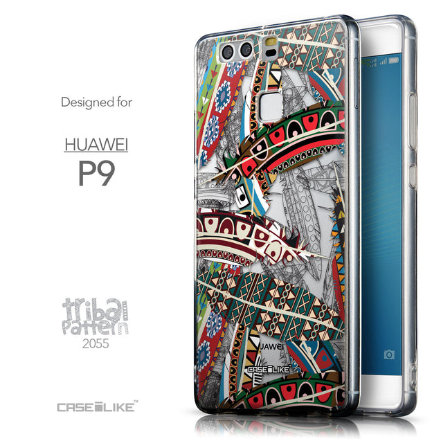 Front & Side View - CASEiLIKE Huawei P9 back cover Indian Tribal Theme Pattern 2055