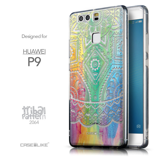 Front & Side View - CASEiLIKE Huawei P9 back cover Indian Line Art 2064