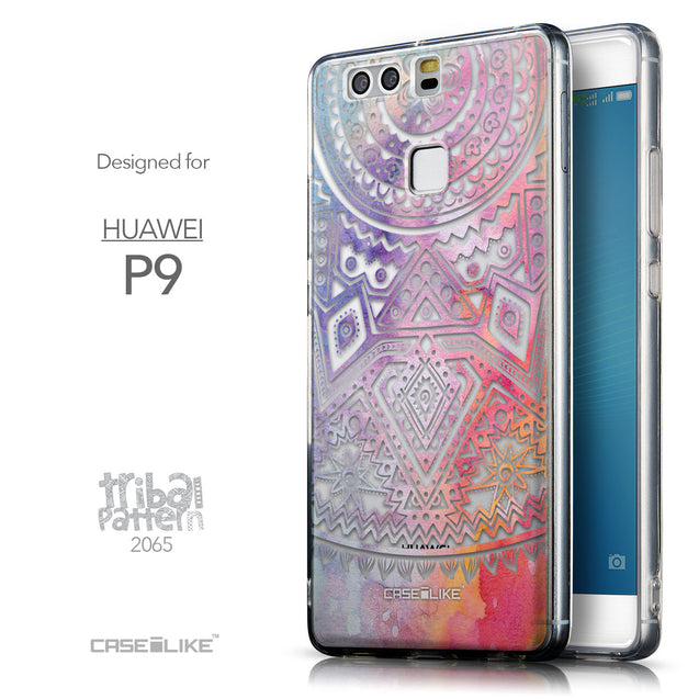 Front & Side View - CASEiLIKE Huawei P9 back cover Indian Line Art 2065