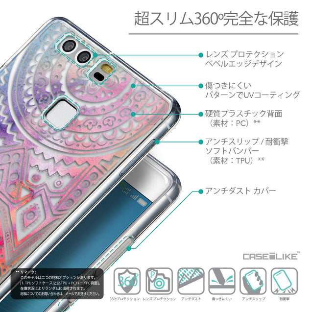 Details in Japanese - CASEiLIKE Huawei P9 back cover Indian Line Art 2065