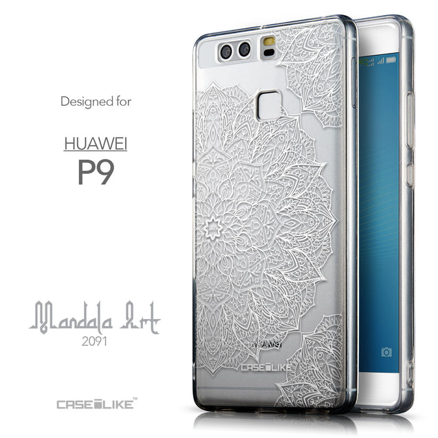 Front & Side View - CASEiLIKE Huawei P9 back cover Mandala Art 2091