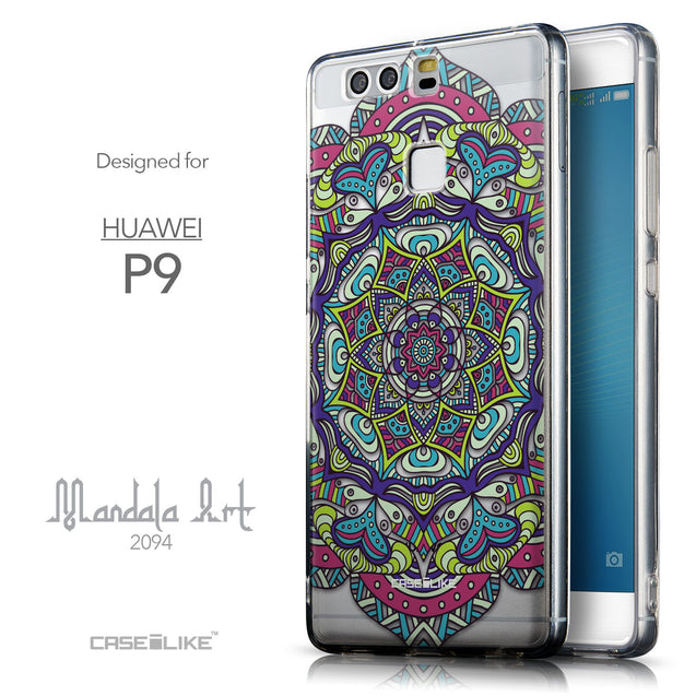 Front & Side View - CASEiLIKE Huawei P9 back cover Mandala Art 2094