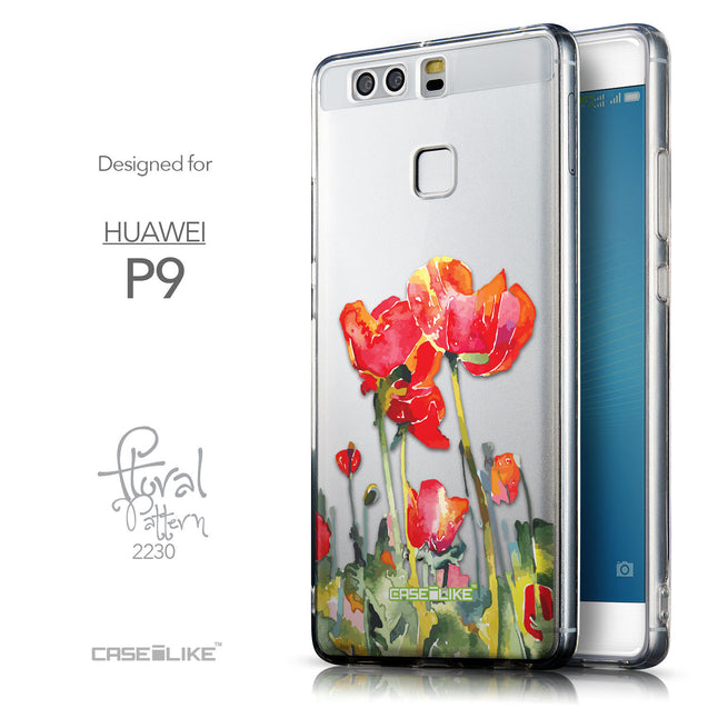 Front & Side View - CASEiLIKE Huawei P9 back cover Watercolor Floral 2230