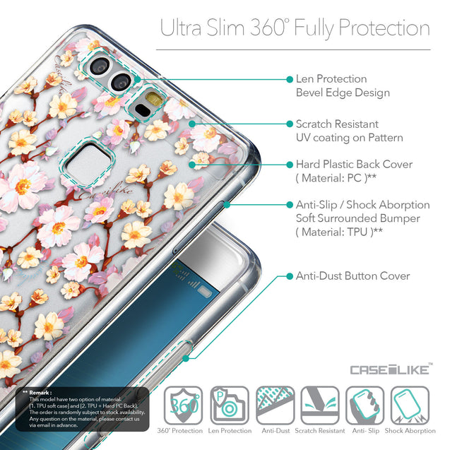 Details in English - CASEiLIKE Huawei P9 back cover Watercolor Floral 2236