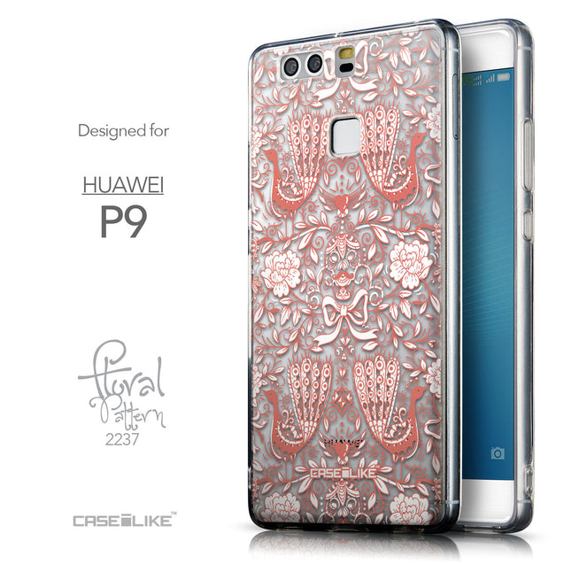 Front & Side View - CASEiLIKE Huawei P9 back cover Roses Ornamental Skulls Peacocks 2237