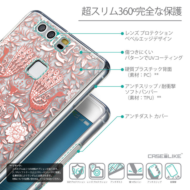 Details in Japanese - CASEiLIKE Huawei P9 back cover Roses Ornamental Skulls Peacocks 2237