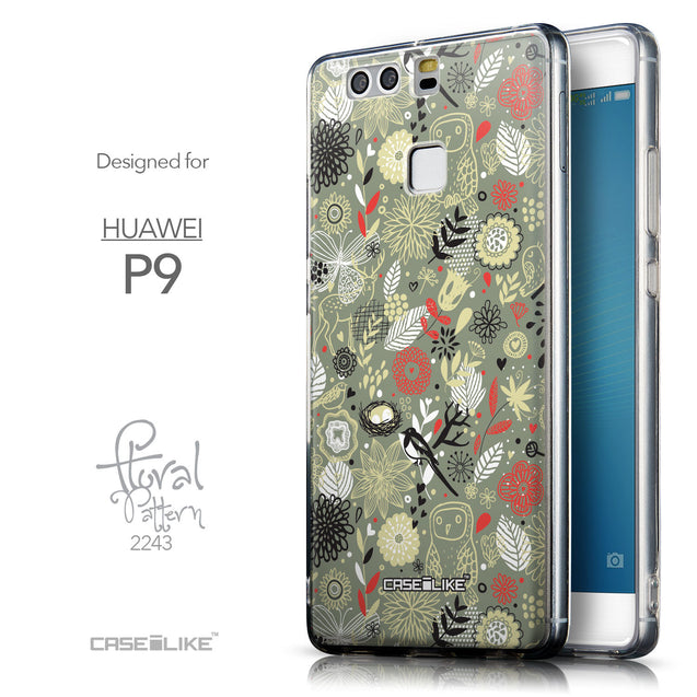 Front & Side View - CASEiLIKE Huawei P9 back cover Spring Forest Gray 2243