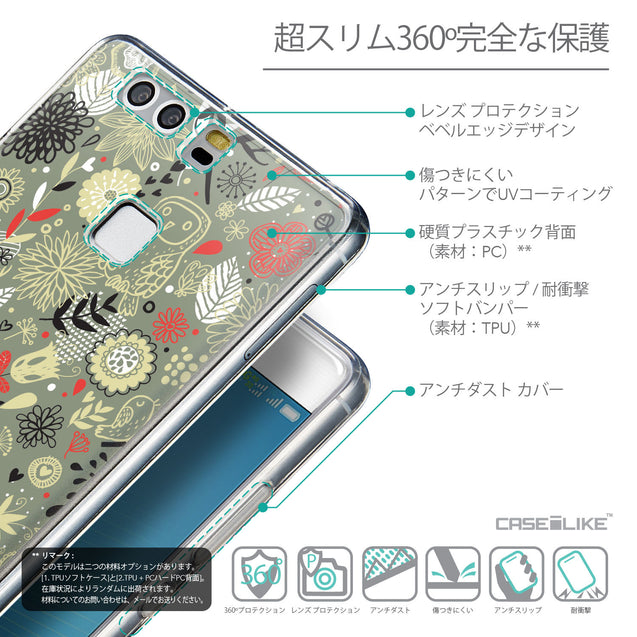 Details in Japanese - CASEiLIKE Huawei P9 back cover Spring Forest Gray 2243