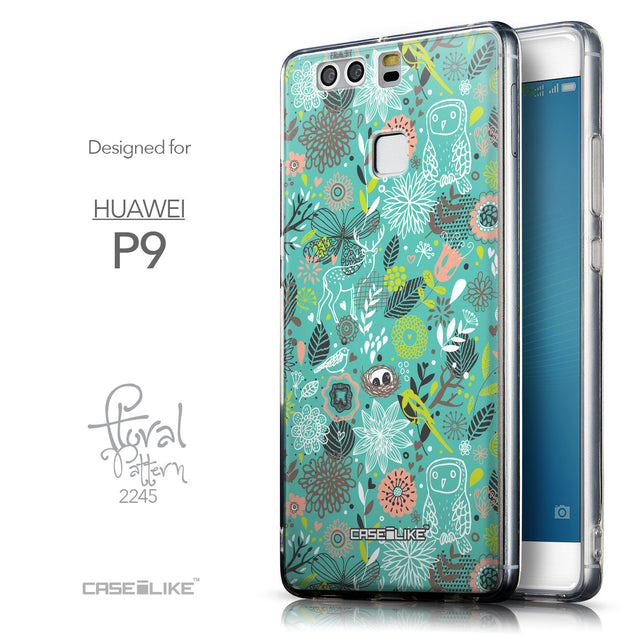 Front & Side View - CASEiLIKE Huawei P9 back cover Spring Forest Turquoise 2245