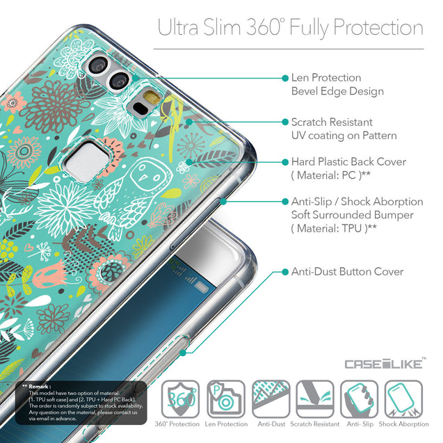 Details in English - CASEiLIKE Huawei P9 back cover Spring Forest Turquoise 2245