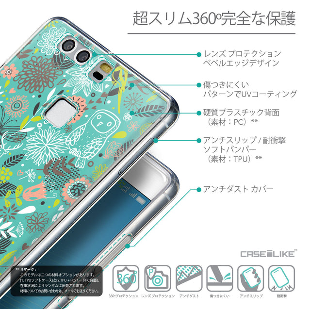 Details in Japanese - CASEiLIKE Huawei P9 back cover Spring Forest Turquoise 2245