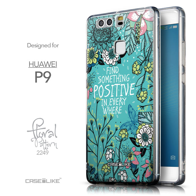 Front & Side View - CASEiLIKE Huawei P9 back cover Blooming Flowers Turquoise 2249