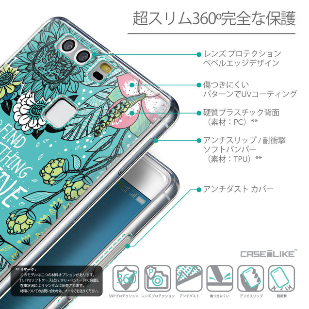 Details in Japanese - CASEiLIKE Huawei P9 back cover Blooming Flowers Turquoise 2249