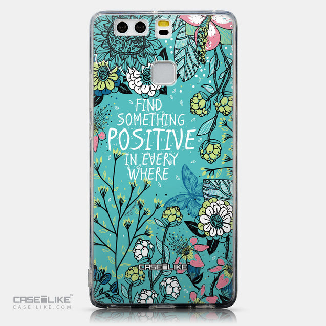 CASEiLIKE Huawei P9 back cover Blooming Flowers Turquoise 2249