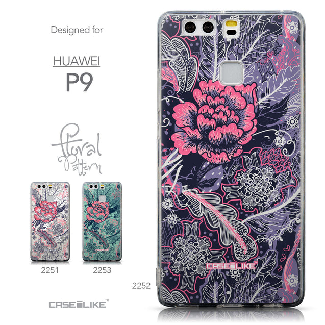 Collection - CASEiLIKE Huawei P9 back cover Vintage Roses and Feathers Blue 2252